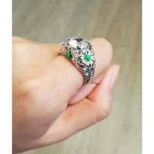 White Sapphire Green Sunflowers Silver Ring